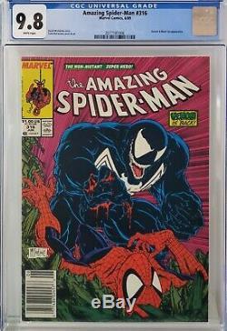 Amazing Spider-man #316 Cgc 9.8 Mcfarlane White Pages Htf Newsstand Variant