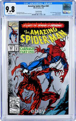 Amazing Spider-man #361 CGC 9.8 White pages 1st Carnage 2nd Second Print