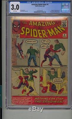 Amazing Spider-man #4 Cgc 3.0 1st Sandman Betty Brant Silver Age White Pages
