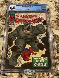 Amazing Spider-man #41 Cgc 6.5 Rare White Pgs 1st Appearance Of Rhino Marvel Key