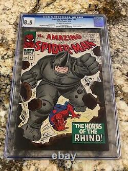 Amazing Spider-man #41 Cgc 8.5 Ow White Pages 1st App Rhino High End Marvel Key