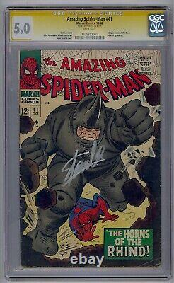 Amazing Spider-man #41 Ss Cgc 5.0 1st Rhino Signed By Stan Lee White Pages