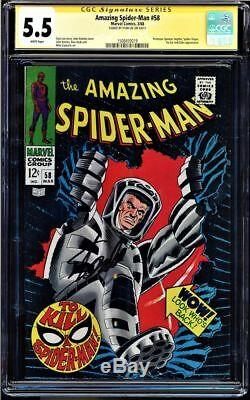 Amazing Spider-man #58 Cgc 5.5 White Pages Ss Stan Lee Signed Cgc #1508459019