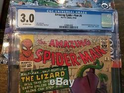 Amazing Spider-man #6 Cgc 3.0 1st Lizard Off-white Pgs 1963