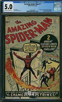 Amazing Spiderman 1 CGC 5.0 Marvel 1963 OW-White Pgs 1570704002