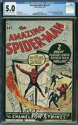 Amazing Spiderman 1 CGC 5.0 Marvel 1963 OW-White Pgs 3702377003