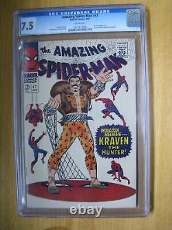 Amazing Spiderman #47, White Pages. Kraven The Hunter. Cgc 7.5 Vf. Halo, Pgx