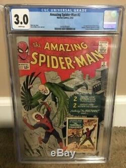 CGC 3.0 Amazing Spider-Man #2 1st App. Of The Vulture 1963 WHITE PAGES