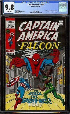 Captain America #137. CGC 9.8 White pages. Spider-Man cover and appearance