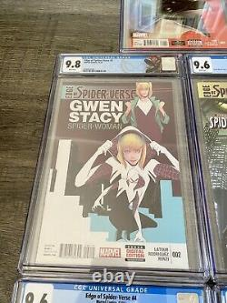Edge of Spider-Verse Set #1-5 CGC #2 & #5 9.8 #1 9.4 #3/4 9.6 All White Pages
