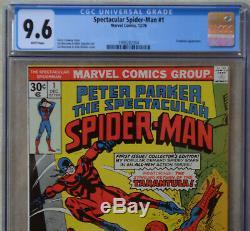SPECTACULAR SPIDER-MAN #1 (Dec 1976, Marvel) CGC 9.6 (NM+) White Pages