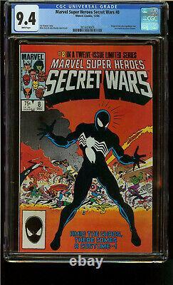 Secret Wars 8 CGC 9.4 White Pg Origin 1st Black Suit Spider-Man Copper Age Key