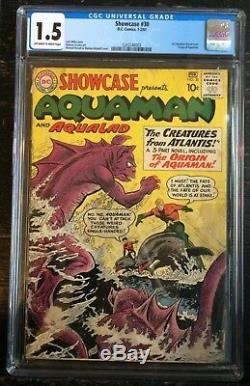 Showcase #30 CGC 1.5 1st Aquaman Tryout Issue Origin of Aquaman Off WithWhite