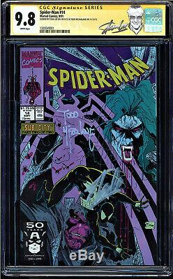 Spider-man #14 Cgc 9.8 White Ss 2 X's Stan Lee And Todd Mcfarlane #1329349001