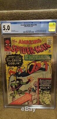 Spiderman 14 CGC 5.0 WHITE PAGES 1 st Green Goblin