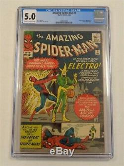 Spiderman Amazing #9 Cgc 5.0 Marvel February 1964 Electro Cream To White (sa)
