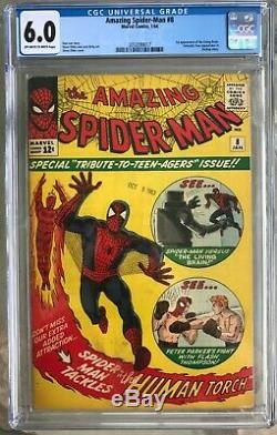 THE AMAZING SPIDER-MAN #8 CGC 6.0 - O/W to WHITE PGS! 1ST LIVING BRAIN! LEE
