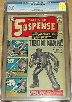 Tales Of Suspense #39 Cgc 8.0 Off White Pages 1st App Ironman March 1963 (sa)