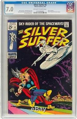 The Silver Surfer #4 (Marvel, 1969) CGC FN/VF 7.0 Off-white to white pages. Thor
