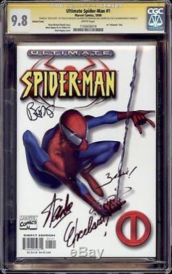 Ultimate Spider-man 1 White Variant Cgc 9.8 Ss Stan Lee Bendis Bagley Excelsior